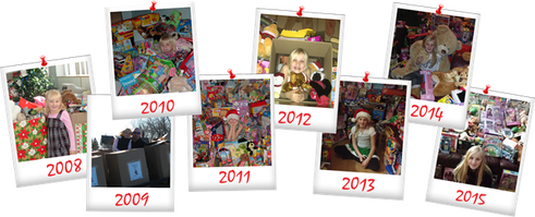 Polaroids of annual Toy Drives since 2008